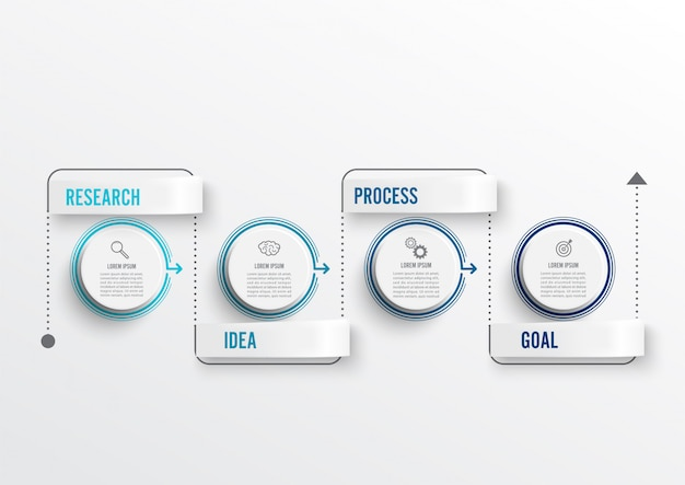 Thin line minimal infographics design and 4 options or steps. Premium Vector
