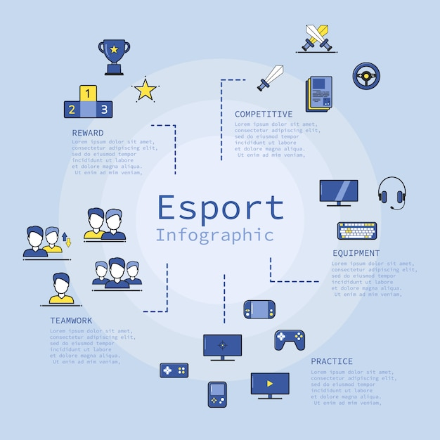 Thin line modern e sport cyber games infographic Premium Vector