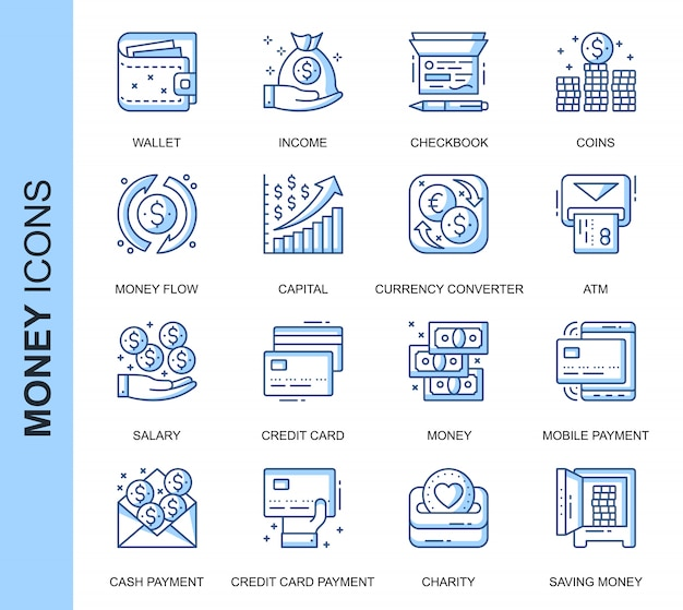 Thin line money related icons set Premium Vector