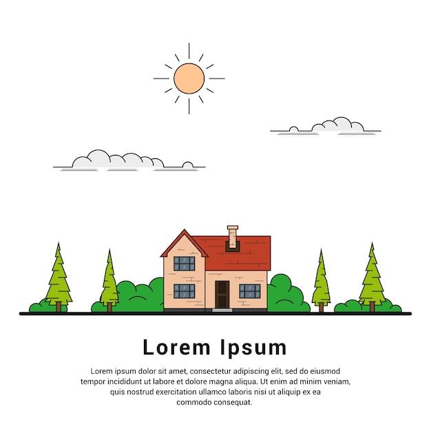 木、雲と太陽、家族の家、不動産、建設業界のコンセプトを持つプライベートコテージハウスの細い線 Premiumベクター