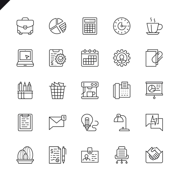 Thin line office icons set Premium Vector