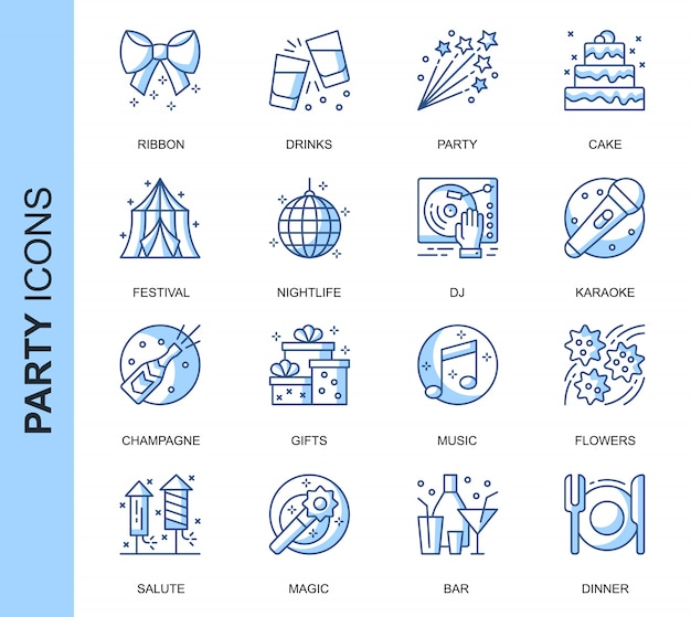 Thin line party related icons set Premium Vector
