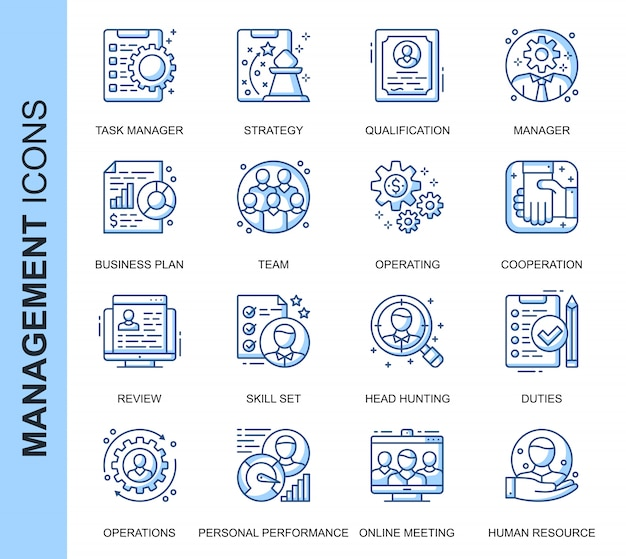 Thin line people management related icons set Premium Vector