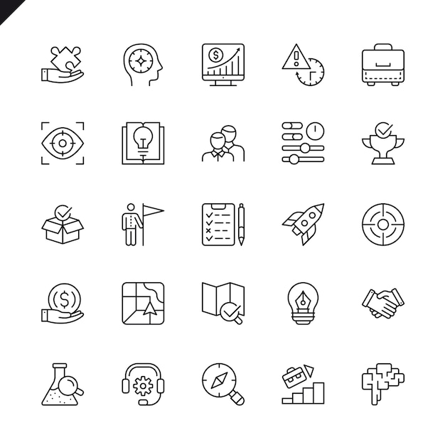 Thin line startup project and development elements icons set Premium Vector