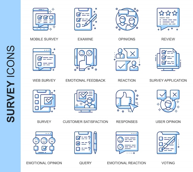 Thin line survey related icons set Premium Vector