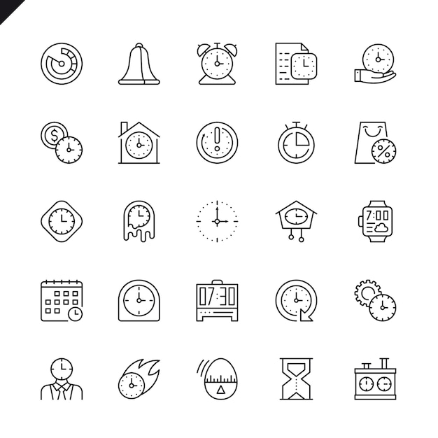 Thin line time icons set Premium Vector