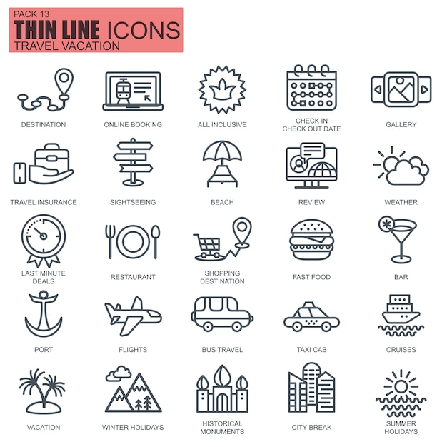 Thin line travel and tourism icons Premium Vector