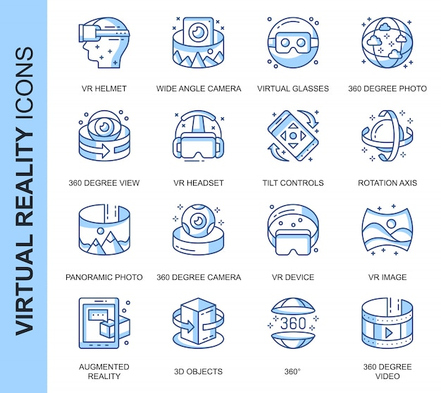 Thin line virtual reality related icons set Premium Vector