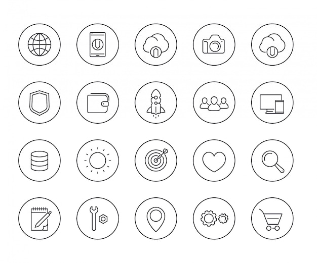 Thin line web icons set on white Premium Vector