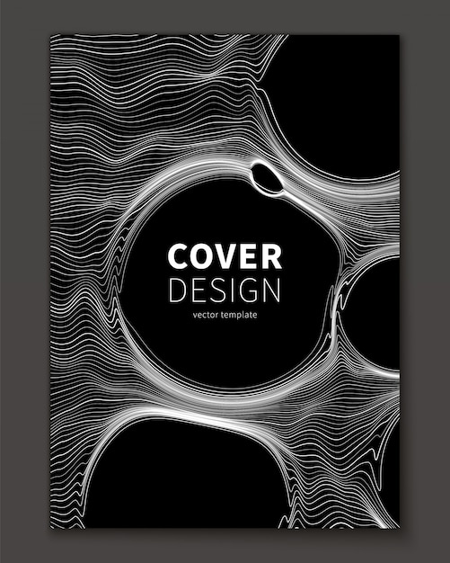 Thin lines and bubble abstract cover template Free Vector
