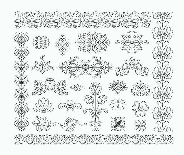Thin mono line floral decorative  elements, set of isolated ornamental headers, dividers with leaves and flowers. Premium Vector