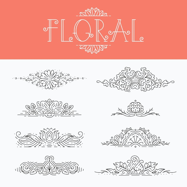 Thin mono line floral decorative  elements, set of isolated ornamental headers Premium Vector