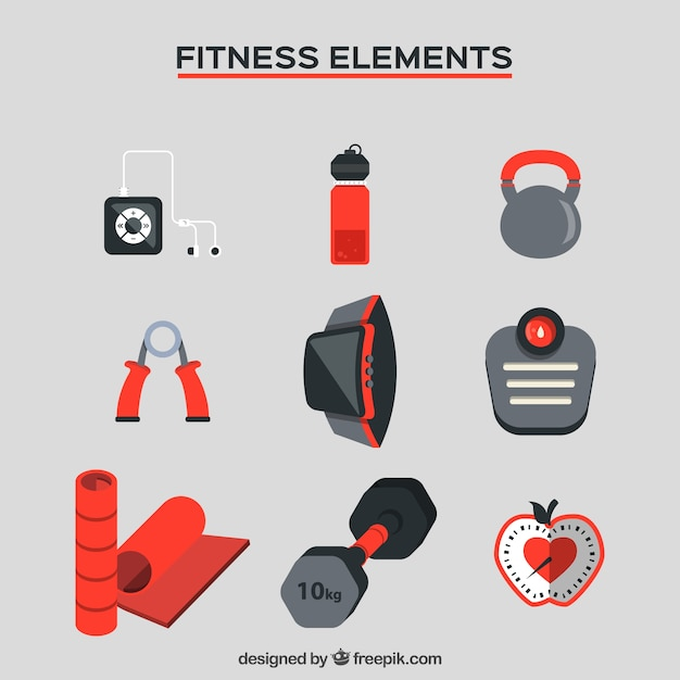 Things for fitness collection Free Vector