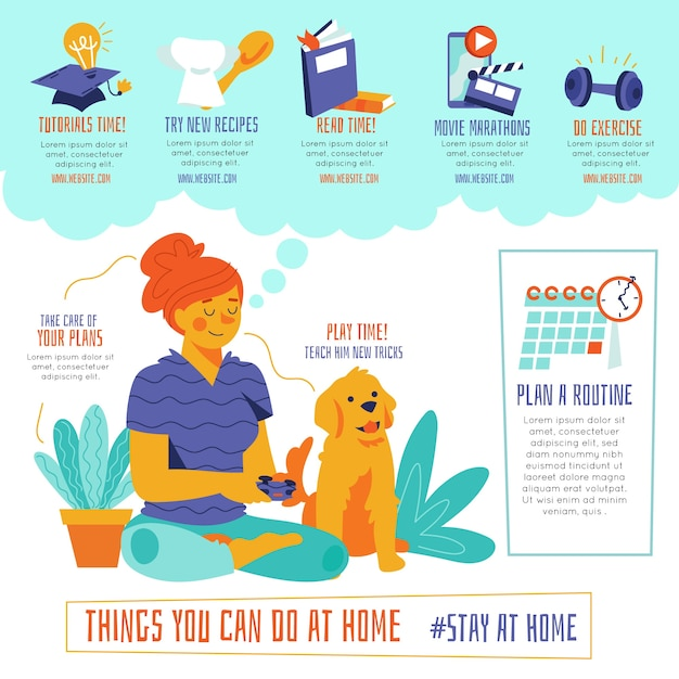 Things you can do at home woman and dog Free Vector