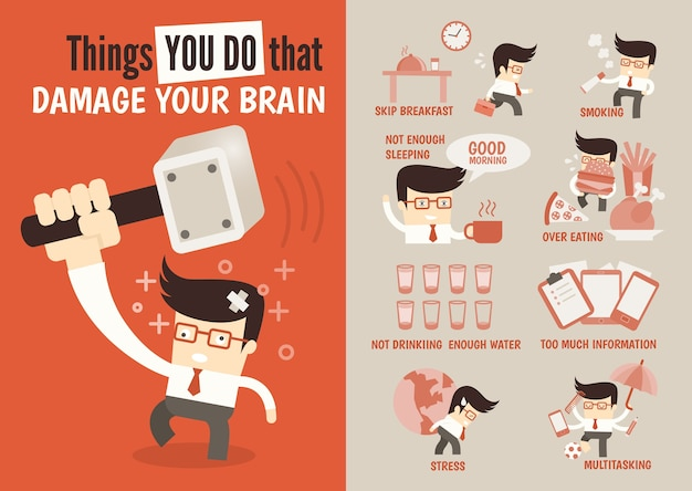 Things you do that damage your brain Premium Vector