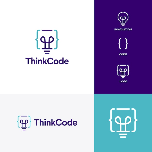 Think code bulb innovation smart logo vector icon Premium Vector