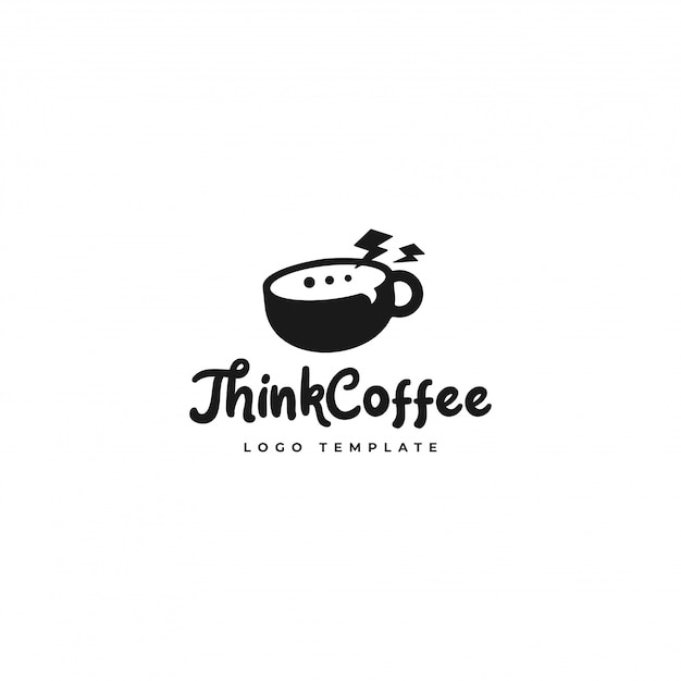 Think coffee logo  best for coffee shop Premium Vector