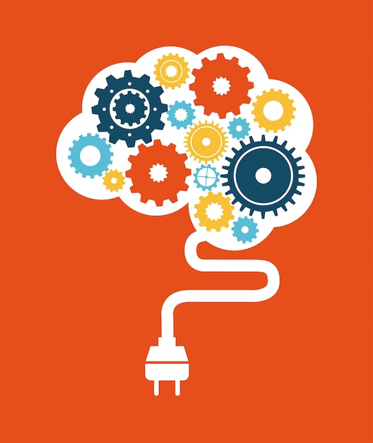 Think design over orange background vector illustration Premium Vector
