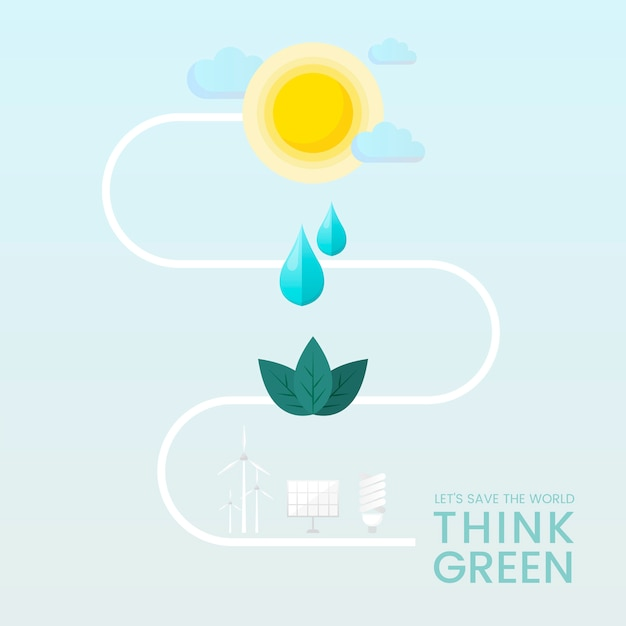 緑の環境保全ベクトルを考える 無料ベクター