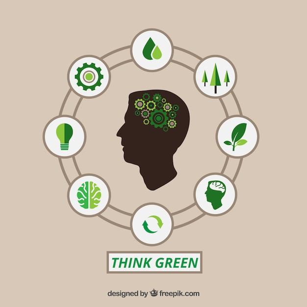 Think green infographic Free Vector