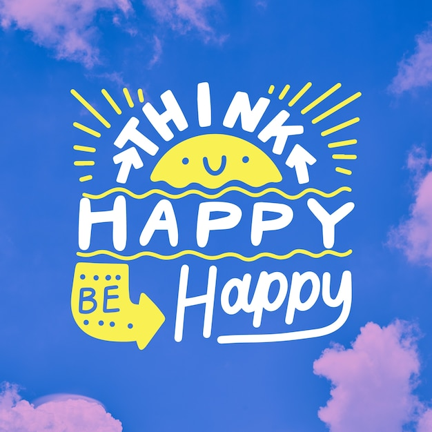 Think happy positive lettering and sun Free Vector