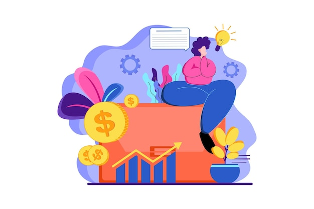 Thinking about business finance web illustration
