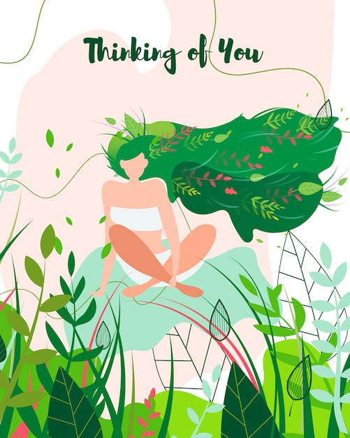 Thinking about you greeting card, girl in nature. Free Vector
