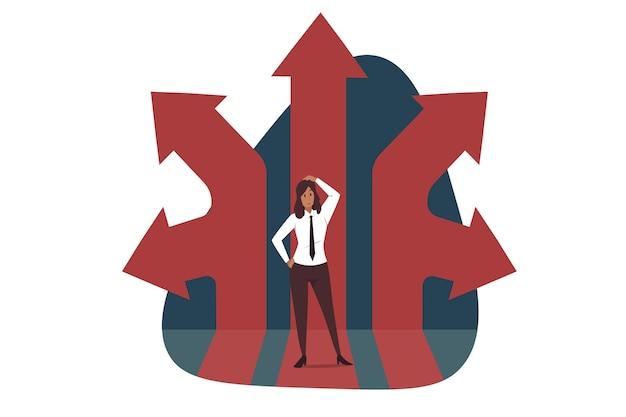 Мышление, направление, бизнес. вдумчивый бизнесмен босс мультипликационный персонаж стоит в окружении разных направлений. Premium векторы