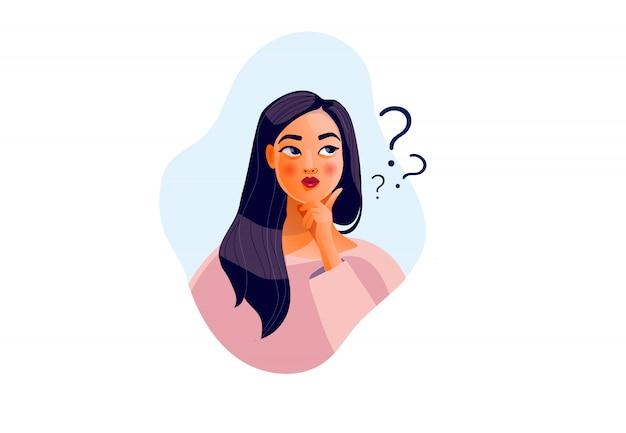 Думающая девушка. красивое лицо, сомнения, женские проблемы, мысли, эмоции. любопытная женщина, допрос, знак вопроса Premium векторы