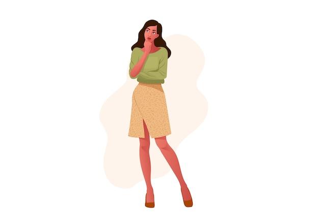 Думающая девушка. красивое лицо, сомнения, проблемы, мысли, эмоции. допрос любопытной женщины. Premium векторы