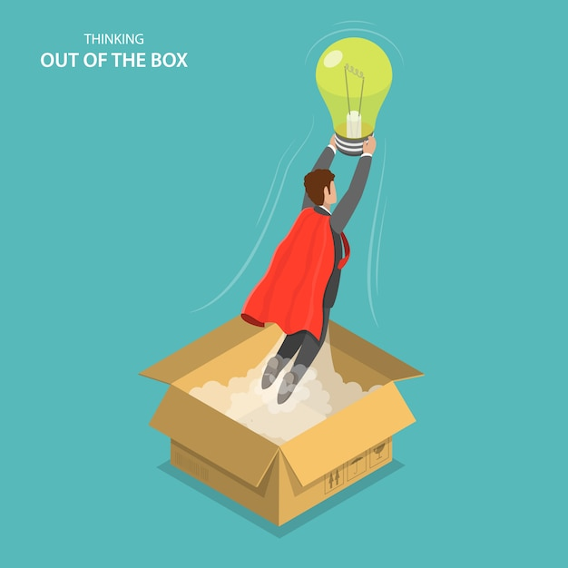 Thinking outside the box isometric flat vector illustration. Premium Vector