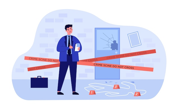 Thinking young detective standing at crime scene near dead body white line   illustration. cartoon inspector or spy making motes and finding criminals. investigation and police concept Premium Vector