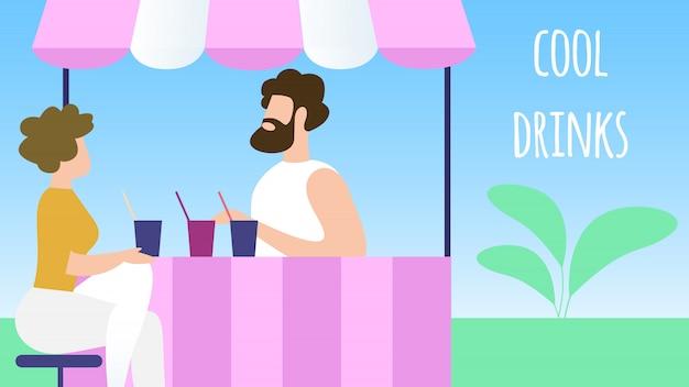 のどが渇いて男が都市公園のブースで冷たい飲み物を買う。サマータイムバケーション Premiumベクター