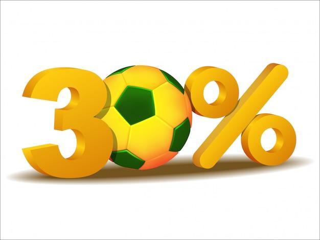 ブラジルのサッカーボールの30%割引アイコン Premiumベクター