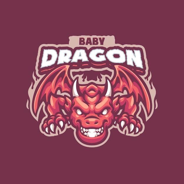 Это логотип талисмана baby dragons. этот логотип можно использовать для логотипов sports, streamer, gaming и esport. Premium векторы