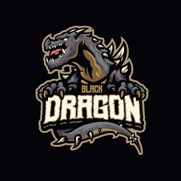 これはブラックドラゴンマスコットのロゴです。このロゴは、スポーツ、ストリーマー、ゲーム、eスポーツのロゴに使用できます。 Premiumベクター
