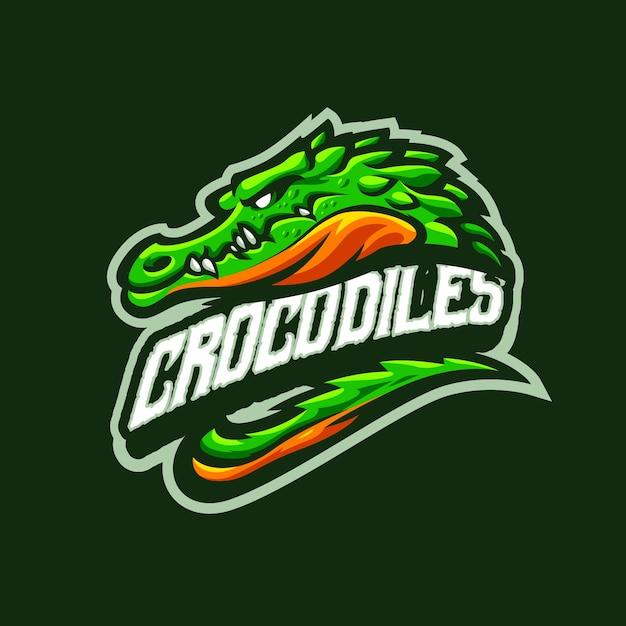 これはクロコダイルのマスコットのロゴです。このロゴは、スポーツ、ストリーマー、ゲーム、eスポーツのロゴに使用できます。 Premiumベクター