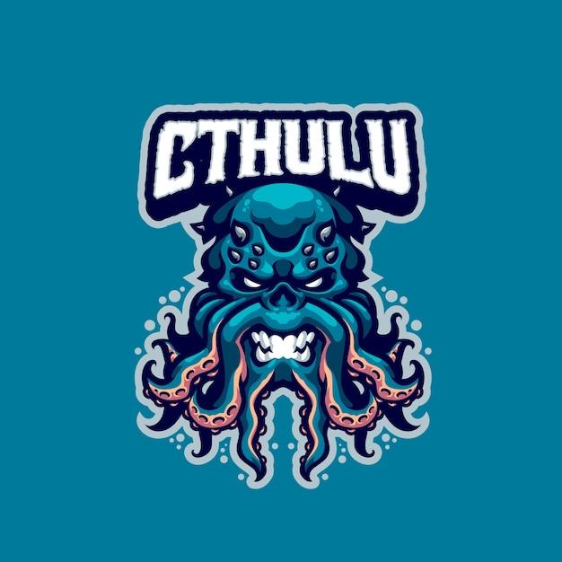 これはクトゥルフのマスコットのロゴです。このロゴは、スポーツ、ストリーマー、ゲーム、eスポーツのロゴに使用できます。 Premiumベクター