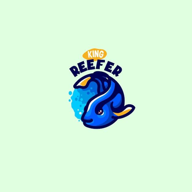 これはかわいい魚のマスコットのロゴです。このロゴは、レストラン、食品および飲料、ビジネスまたは会社のロゴに使用できます。 Premiumベクター