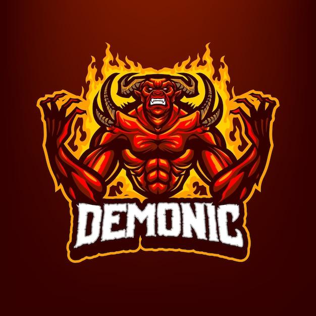これは悪魔のマスコットのロゴです。このロゴは、スポーツ、ストリーマー、ゲーム、eスポーツのロゴに使用できます。 Premiumベクター
