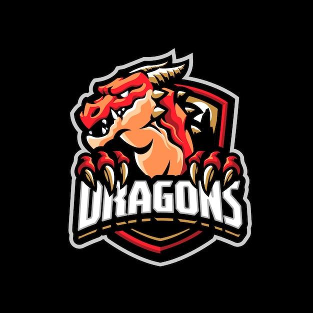 これはドラゴンマスコットのロゴです。このロゴは、スポーツ、ストリーマー、ゲーム、eスポーツのロゴに使用できます。 Premiumベクター