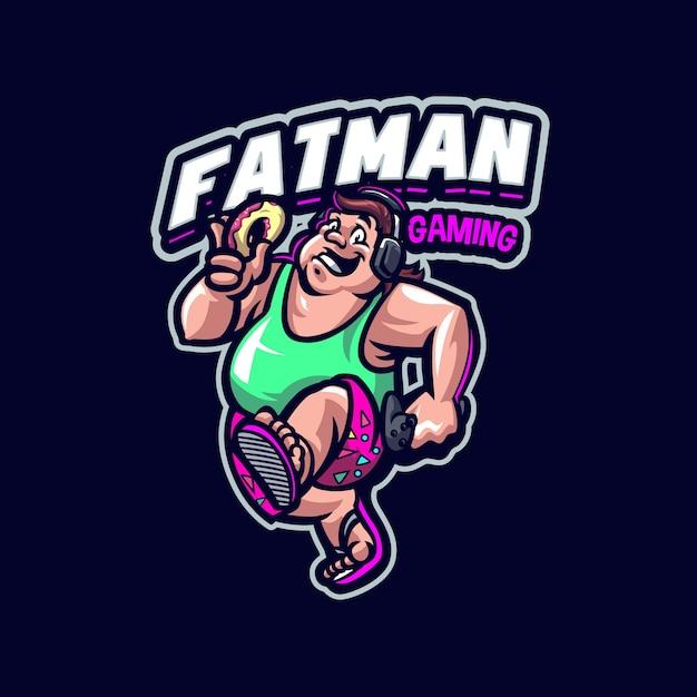 これはファットマンマスコットのロゴです。このロゴは、スポーツ、ストリーマー、ゲーム、eスポーツのロゴに使用できます。 Premiumベクター