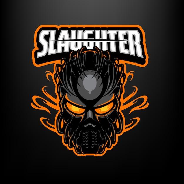 これはキラーマスクマスコットのロゴです。このロゴは、スポーツ、ストリーマー、ゲーム、eスポーツのロゴに使用できます。 Premiumベクター