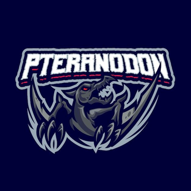 これはプテラノドンのマスコットのロゴです。このロゴは、スポーツ、ストリーマー、ゲーム、eスポーツのロゴに使用できます。 Premiumベクター