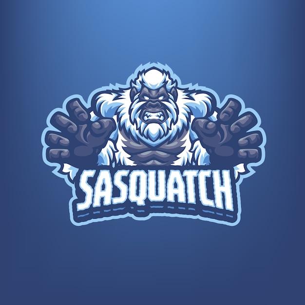 これはサスカッチマスコットのロゴです。このロゴは、スポーツ、ストリーマー、ゲーム、eスポーツのロゴに使用できます。 Premiumベクター