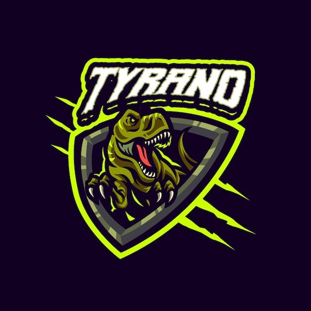 これはティラノサウルスレックスマスコットのロゴです。このロゴは、スポーツ、ストリーマー、ゲーム、eスポーツのロゴに使用できます。 Premiumベクター