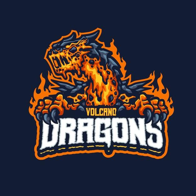 これはvolcanodragonsマスコットのロゴです。このロゴは、スポーツ、ストリーマー、ゲーム、eスポーツのロゴに使用できます。 Premiumベクター