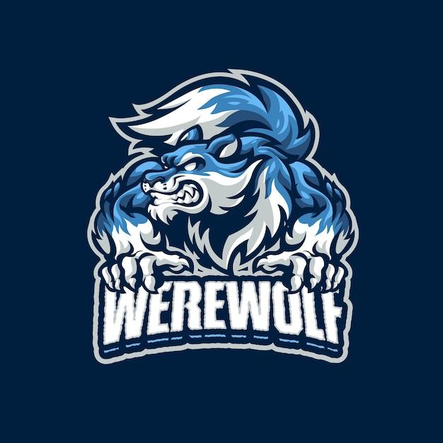 これは狼男マスコットのロゴです。このロゴは、スポーツ、ストリーマー、ゲーム、eスポーツのロゴに使用できます。 Premiumベクター