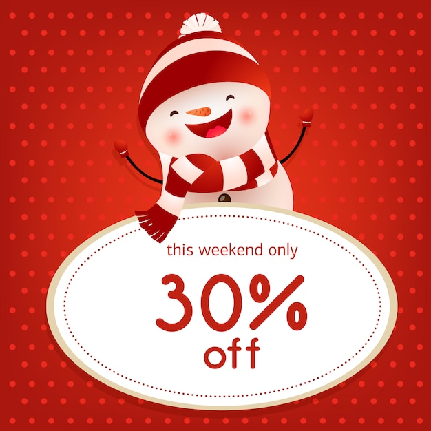This weekend sale red poster design with dancing snowman Free Vector