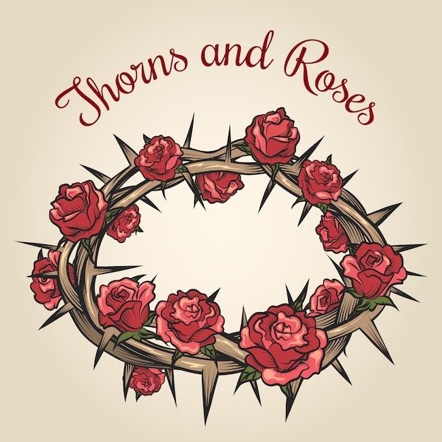 Эмблема гравировки шипов и роз. цветочная цветочная рамка, растительная природа, векторные иллюстрации Бесплатные векторы